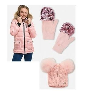 Girls Puffer with Double Pompom Beanie & Gloves